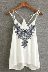 Stylish Spaghetti Strap Embroidery Embellished Women's Tank Top