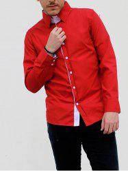 Turn-Down Collar Double-Layered Design Long Sleeve Slimming Men's Shirt
