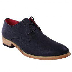 Stylish Embossing and Lace-Up Design Formal Shoes For Men -