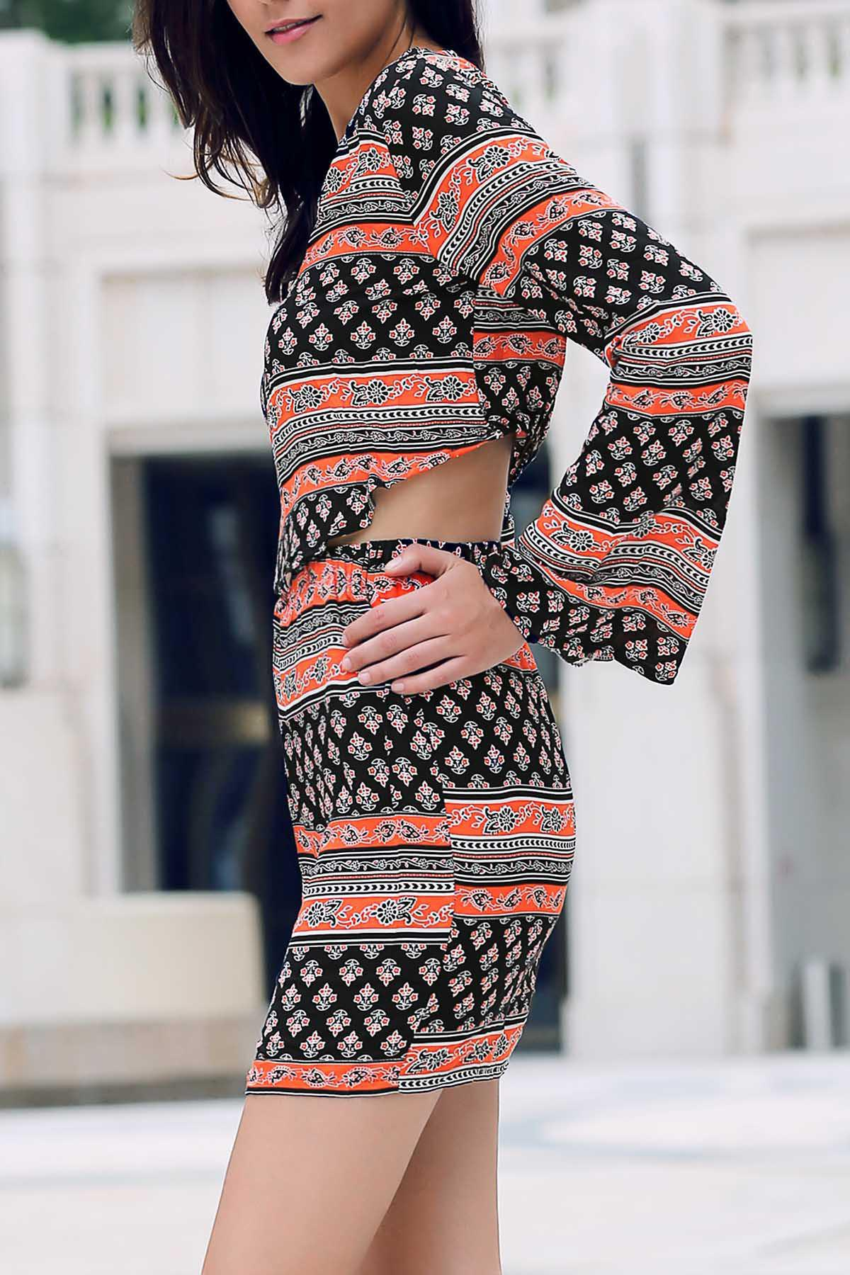 Colormix S Trendy Tribal Print Long Sleeve Crop Top And