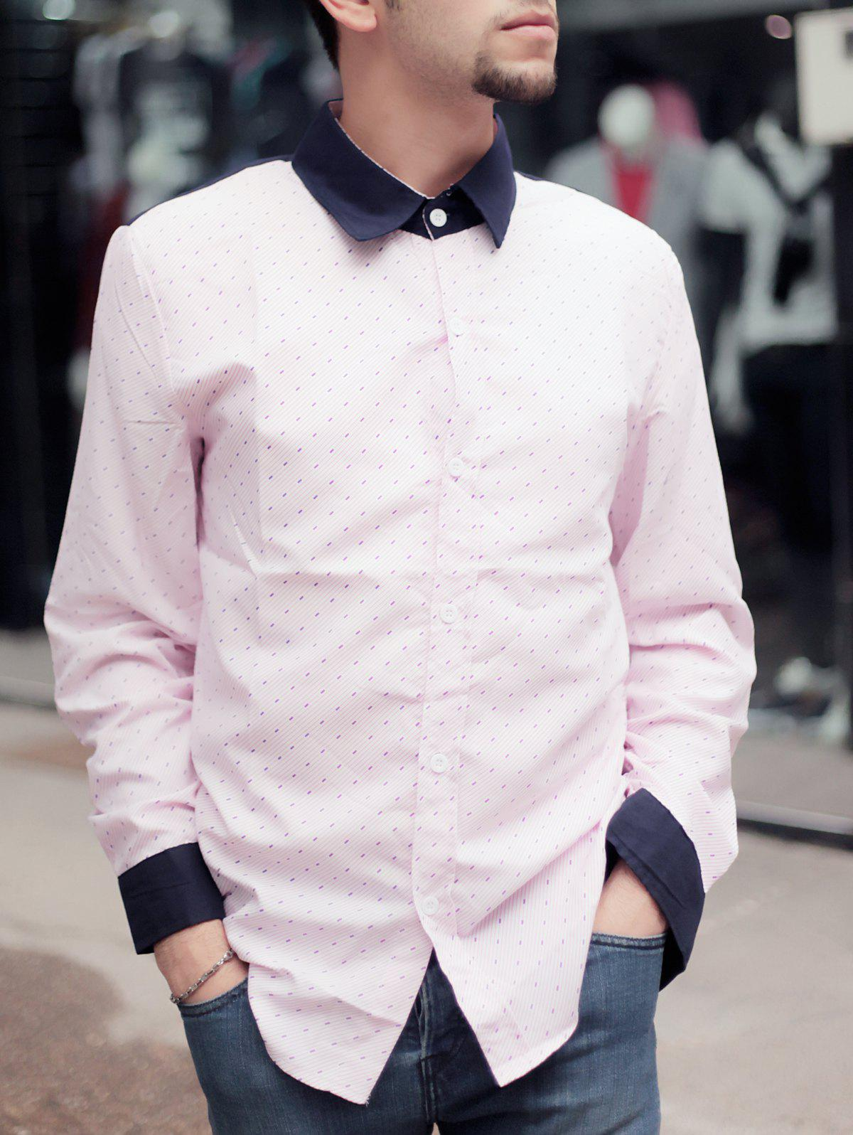 Best Fashion Shirt Collar Color Block Twill Splicing Slimming Long Sleeve Cotton Blend Shirt For Men