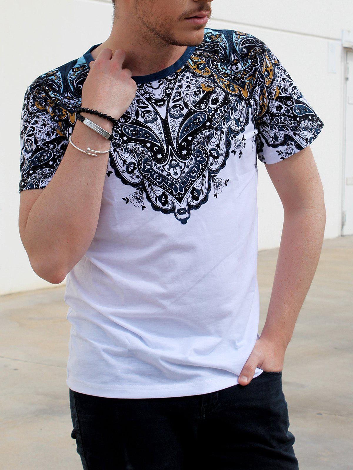 Hot Vintage Round Neck Totem Print Color Block Short Sleeves Fitted T-Shirt For Men