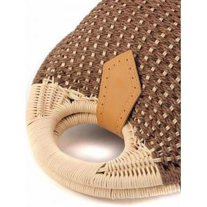 Trendy Round Shape and Weaving Design Tote Bag For Women -