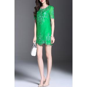 Embroidered Hollow Out Mini Dress -