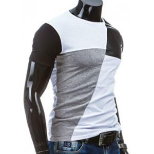 Casual Round Collar Pullover Splicing T-Shirt For Men - WHITE M