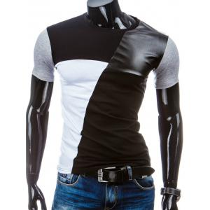 Casual Round Collar Pullover Splicing T-Shirt For Men - Black - L