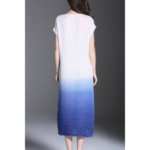 Scoop Neck Ombre Ruched Midi Dress -