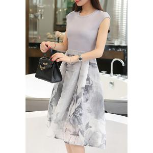 Elegant Jewel Neck Sleeveless Patchwork Printed Dress For Women - WHITE M