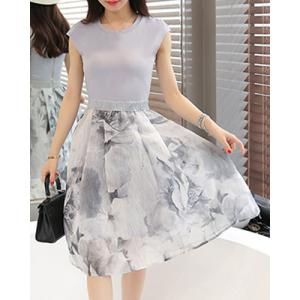 Elegant Jewel Neck Sleeveless Patchwork Printed Dress For Women