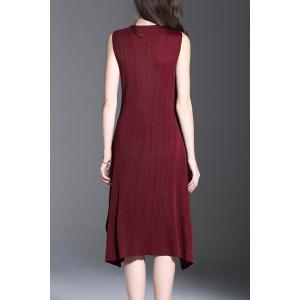 Ruched Solid Color Sleeveless Dress -