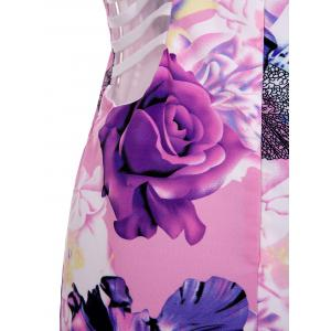 Chic Spaghetti Strap Floral Print Hollow Out Skinny Women's Dress -