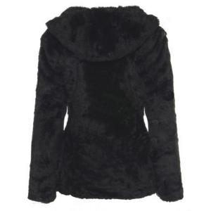Trendy Hooded Long Sleeve Pure Color Faux Fur Coat For Women -