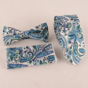 One Set Blue Paisley Pattern Tie Handkercheif and Bow Tie