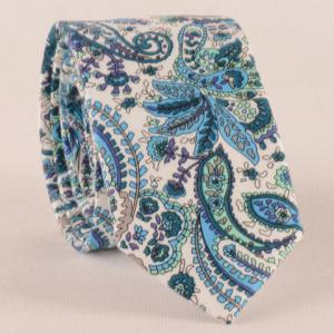 One Set Blue Paisley Pattern Tie Handkercheif and Bow Tie - BLUE