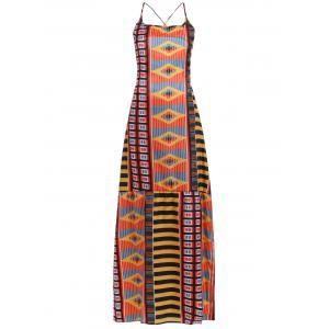 Chic Women's Open Back Ethnic Print Dress