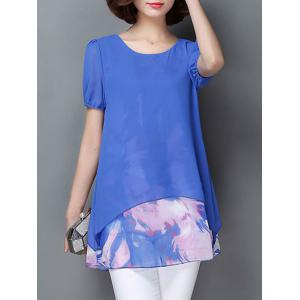 Casual Scoop Neck Short Sleeve Faux Twinset Women's Chiffon Blouse - Blue - 3xl