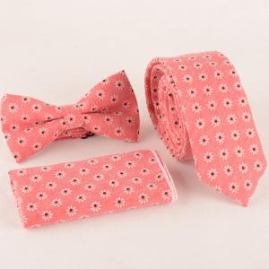 One Set Daisy Jacquard Watermelon Red Tie Handkercheif and Bow Tie - Watermelon Red - 37