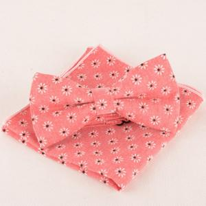 One Set Daisy Jacquard Watermelon Red Tie Handkercheif and Bow Tie - WATERMELON RED