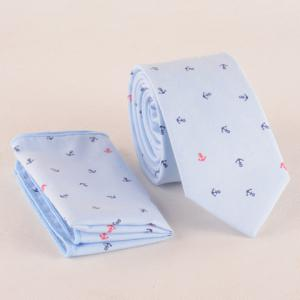 One Set Boat Anchor Pattern Light Blue Tie and Handkercheif