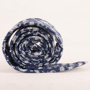 One Set Paisley Pattern Deep Blue Tie Handkercheif and Bow Tie -