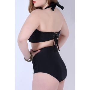 Charming Plus Size Halter Solid Color High Waist Bikini Set For Women -