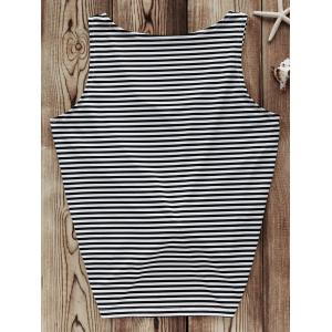 Trendy V-Neck Striped Tank Top For Women -