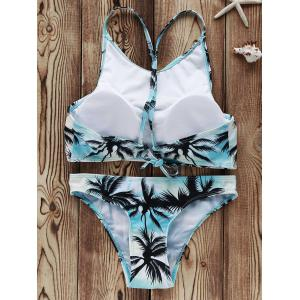High Neck Coconut Palm Print Bikini Set -