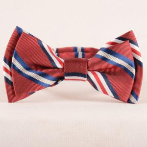 Stylish Stripe Pattern Red Double-Deck Bow Tie For Boys - Red - L