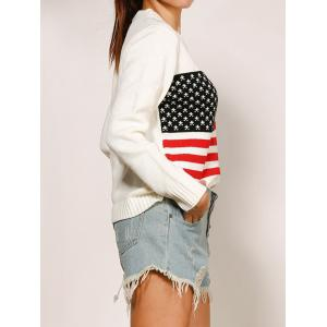 Crew Neck Long Sleeve Flag Pattern Sweater -