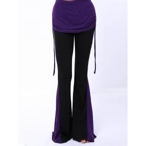 Chic Elastic Waist Hit Color Loose-Fitting Women's Pants - PURPLE S