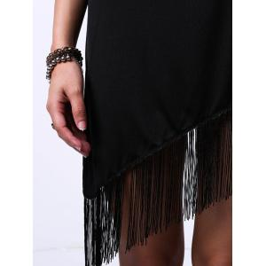 Flapper Jewel Neck Sleeveless Fringe Trim Dress - BLACK S