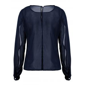 Casual Jewel Neck Long Sleeve Hollow Out Chiffon Blouse For Women - DEEP BLUE M
