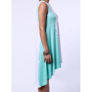 High Low Trapeze Tank Sunmmer Dress - WHITE/GREEN S
