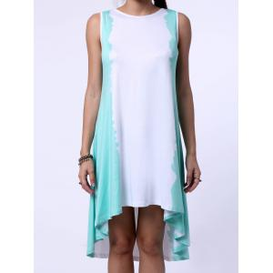 High Low Trapeze Tank Sunmmer Dress - WHITE AND GREEN S