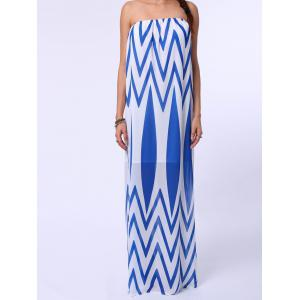 Zig Zag Tube Top Strapless Maxi Dress - Blue And White - Xl