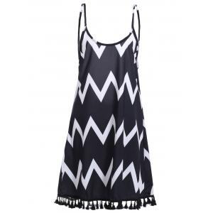 Bohemian Backless Zigzag Stripe Fringed Dress For Women - Black - M