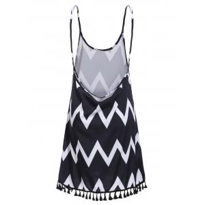 Bohemian Backless Zigzag Stripe Fringed Dress For Women - BLACK S