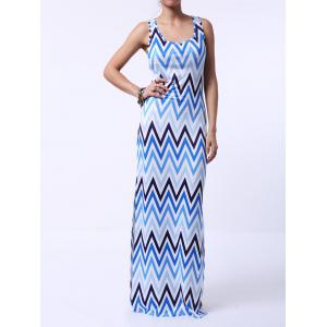 Empire Waist Chevron Printed Racerback Maxi Tank Dress - Blue - S