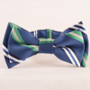 Stylish Stripe Pattern Blue Double-Deck Bow Tie For Boys - Blue - L