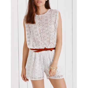 Elegant Sleeveless Cut Out White Side Boob Lace Romper For Women