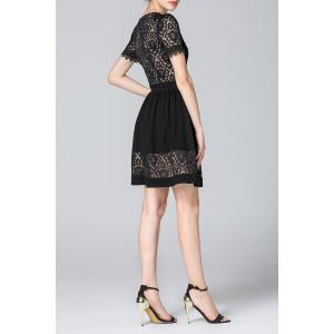 Lace Patchwork Black A-Line Dress -