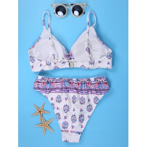 Sweet Spaghetti Strap Floral Print Bikini Set For Women -