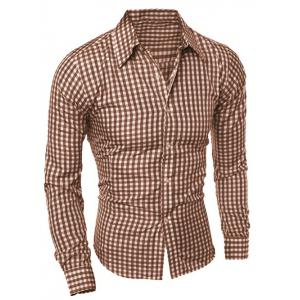 Casual Turn-Down Collar Pliad Print Slimming Long Sleeve Men's Shirt - COFFEE 2XL