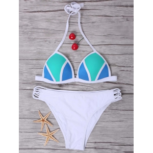 Sexy Halter Color Block   Bikini Set For Women - WHITE S