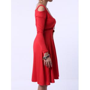 Graceful Sweetheart Neck Shoulder Cut Out Long Sleeve Dress For Women -