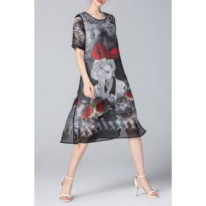 Figure Print Flared Silk Dress -