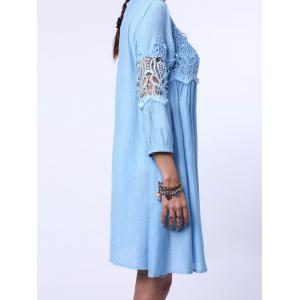 3/4 Sleeve Cut Out Short A Line Dress - LIGHT BLUE XL
