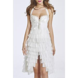 Halter Ruffle Layered Cocktail Dress