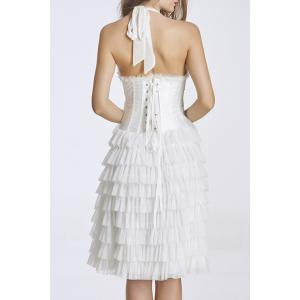 Halter Ruffle Layered Cocktail Dress - WHITE S