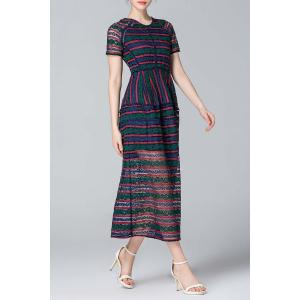 Striped Guipure Lace Sheer Dress -